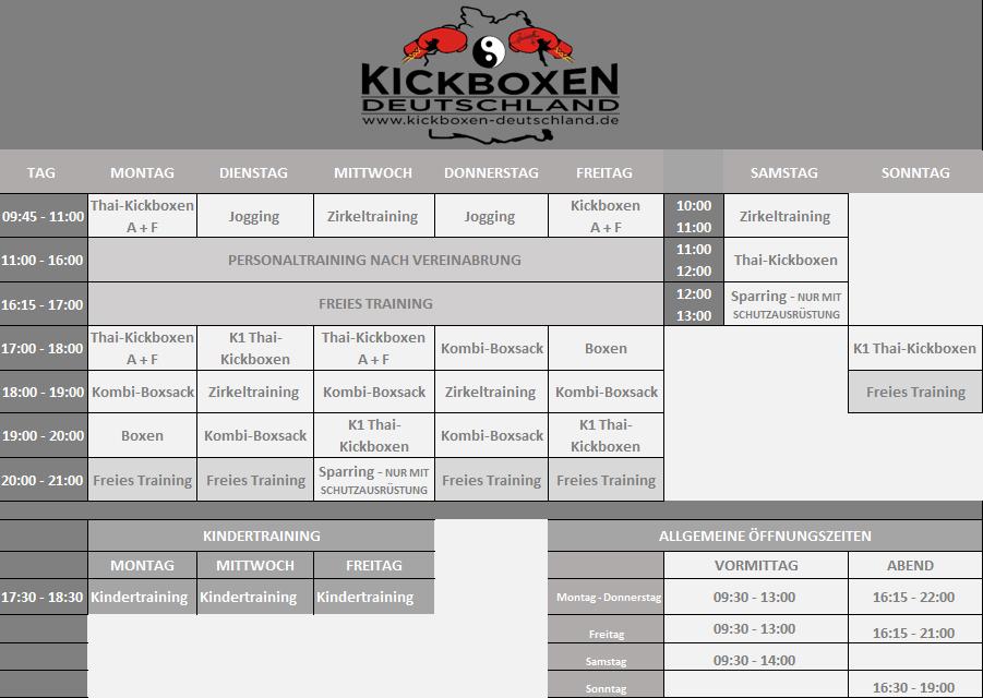 Kickboxen Trainingsplan
