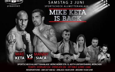 Mike Keta is back: Der Münchner Boxer kämpft am 2. Juni bei Keta's Fight Gala gegen Manny Siaca