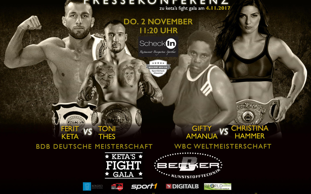 Pressekonferenz zum härtesten Kampfsport-Event des Jahres am 2. November 2017 bei Sportscheck